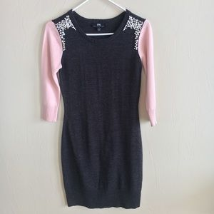 Pink and Gray Sweater Dress
